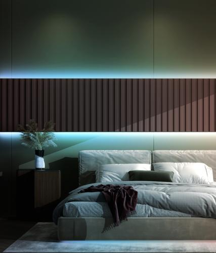Bedroom dimly lit with blue colors from Wyze Lightstrip Pro by setting sleep routines in Wyze app