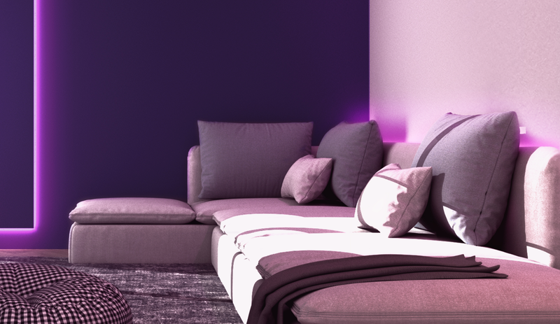 Living room cough lit up by purple light from Wyze Lightstrip Basic