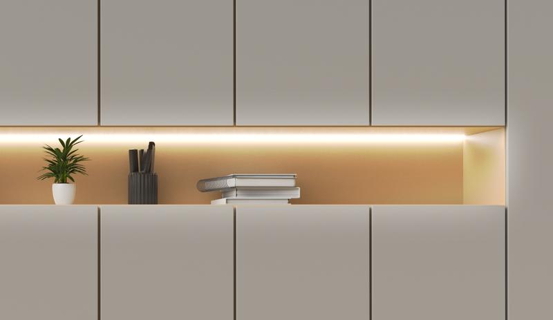 Shelf lit up by white light from Wyze Lightstrip Basic