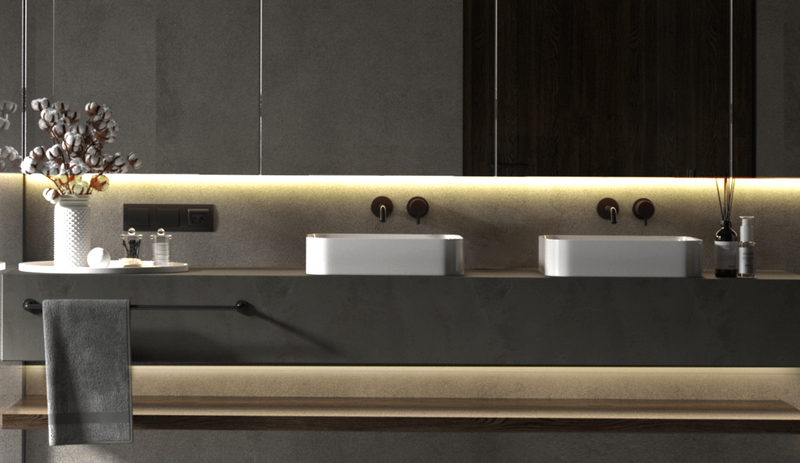 Vanity sinks lit up with warm light under mirrorss by Wyze Lightstrip Basic
