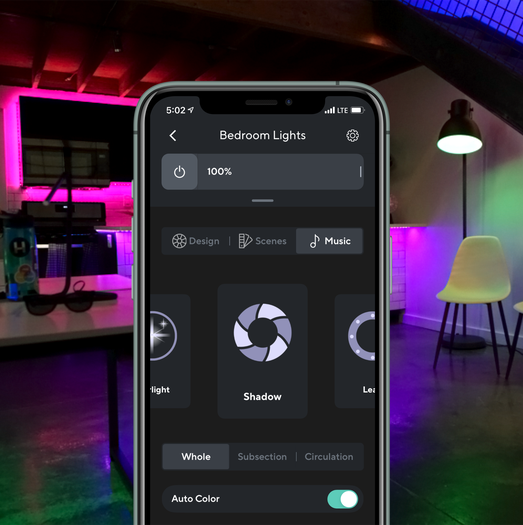 Screenshot of Wyze Mobile app displaying music mode controls for Wyze Lightstrip Basic